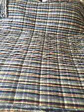 Ll Bean King Sz Cotton Comforter Plaid Blue Red Beige Bed Spread