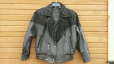 PRESTON & YORK WOMEN'S sz SMALL BLACK FLORAL DESIGN SUEDE & LEATHER COAT JACKET