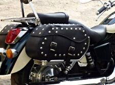 MOTORCYCLE BLACK LEATHER SADDLEBAGS PANNIERS HONDA VT600 750 SHADOW VTX VALKYRIE