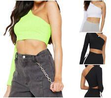 Womens Ladies Crop Top One Shoulder Long Sleeve Ribbed Clubwear Vest Tank Top UK