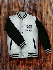 Men's Gray Letterman Baseball Varsity Top Jacket College School Team Jersey Coat