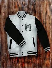 Men's Gray Letterman Baseball Varsity Top Jacket College School Team Jersey Coat