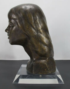 ORIG Victor Salmones (1937-1989) Mexican Sculptor Bronze Bust Young Girl NR yqz