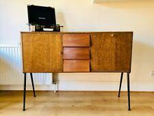 RECORD CABINET Oak Veneer Brass and Black detail Vintage Scandinavian 1950s