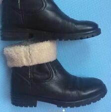 Bimba Y Lola Black Leather Ankle Boots Size 6UK