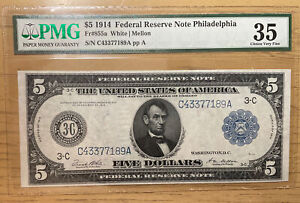 FR. 855a 1914 $5 FRN FEDERAL RESERVE NOTE PHILADELPHIA, PA PMG CHOICE VF 35