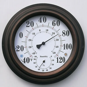 Analog Indoor/Outdoor Thermometer Hygrometer Temperature Humidity Meter