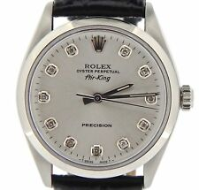 Rolex Air King Mens Stainless Steel Watch Black Strap Silver Diamond Dial 5500