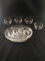 Vintage Hospitality Snack Set 4 Pc Cups Plates Federal Glass Co Pattern
