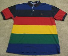 Vintage 90s Tommy Hilfiger Rainbow Polo Shirt Blue Red Yellow Green men L Large