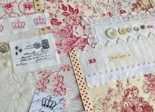 Slow Stitch Kit Vintage French Fabric Toile De Jouy Bundle Antique stitching