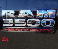 2x OEM Chrome Dodge RAM 3500 HEAVY DUTY Emblem Badges 3D Decal F New Moparar