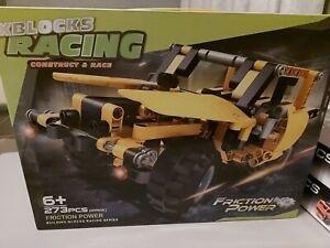 XBLOCKS RACING CONSTRUCT & RACE. FRICTION POWER BUILDING BLOCKS.  NEW - Yellow.