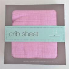 "Aden + Anais Crib Sheet Solid Pink 50"" x 28"" Cotton Muslin"