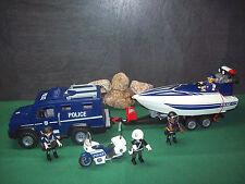Playmobil Polizei-Truck/Speedboot 5187 u. Motorradstreife Police 3986, ohne OVP!
