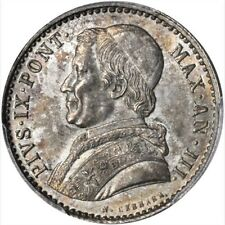 ITALY  PAPAL STATES PIUS IX 1849-B  20 BAIOCCHI SILVER COIN, PCGS CERTIFIED MS63