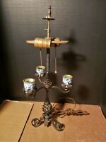 Antique Electric and Candle Lamp Twisted Wrought Iron Blue white Porcelain