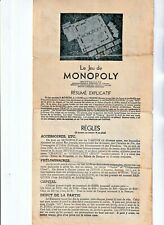 1961 French 4 Page Monopoly Instructions