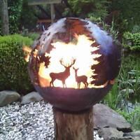 Feuerschale Feuer Kugel Metall Feuerkugel Rost Optik Edelrost Tischfeuer Wald