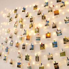 50 LEDs Foto Clip Lichterkette Licht Deko Bild Batteriebeleuchtung mit Klammer