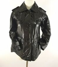 theory womens small black leather jacket oberon polished shiny button italy made