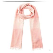 Super Soft Pure Silk Modal Women Long Light Scarf Cherry Pink WhitePlaid Fringed