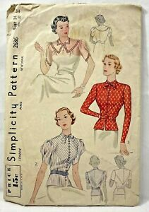 1930s Antq Simplicity Sewing Pattern 2686 Womens Blouse 3 Styles Sz 34 Bust 9370