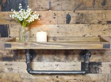 Urban Industrial Pipe Style Wooden Wall Shelf Warehouse Steampunk Towel Rail