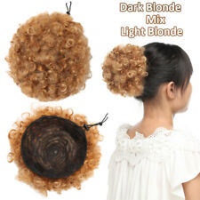 Fluffy Afro Hair Bun Ponytail Drawstring Clip In Hair Extenison Black Updo Thick