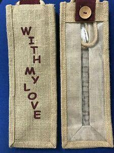 "Hessian / Jute Bottle Bag ""With My Love"""