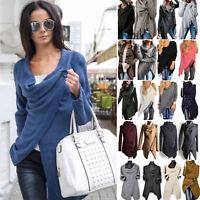 Womens Irregular Knitted Cardigan Coat Jacket Sweater Jumper Outwear Tops Autumn