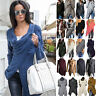 Womens Irregular Knitted Cardigan Coat Jacket Sweater Jumper Winter Outwear Tops