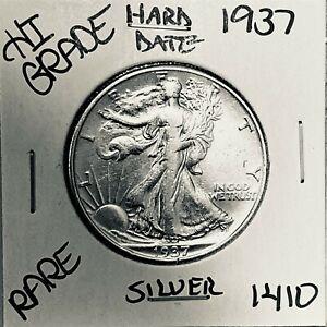1937 LIBERTY WALKING SILVER HALF DOLLAR HI GRADE U.S. MINT RARE COIN 1410