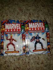 Marvel Heroes Miniature Poseable Figures CAPTAIN AMERICA & Human TorchAvengers