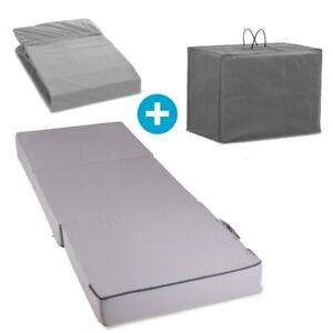 Gästematratze Klappmatratze 3-Teiliges Set 15 cm Dick Schaumstoff faltbar Grau