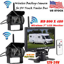 """2x Wireless Vehicle Backup Camera+7"""" LCD Monitor Car Rear View Kit for Bus Truck"""