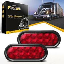 """(2) Trailer Truck LED Sealed RED 6"""" Oval Stop/Turn/Tail Light Marine Waterproof"""