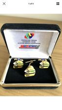 Ayrton Senna Foundation 'Helmet' Cufflinks & Tie Pin by Mike Follmer RARE New