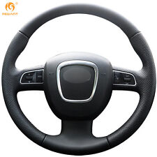 Black Leather Steering Wheel Cover for Audi A3 8P A4 B8 A5 2008-2010 A6 C6