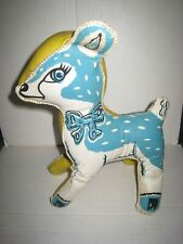 """Vintage Antique '50's? Vinyl Stuffed 12"""" Fawn Deer Oilcloth ? Toy; Blue & Yellow"""
