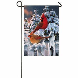 Winter Holiday Cardinal Garden Flag Double-Sided Bird Christmas Lights Fence