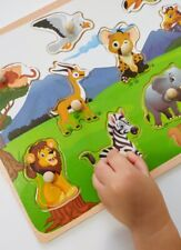 Wooden Peg Puzzles for Baby Toddlers Preschool Educational Board Color Pictures