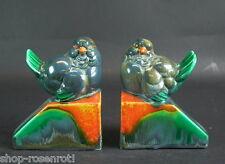 -2- seltene Art Deco Buchstützen - Keramos Vögel
