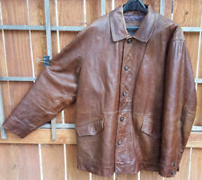 TIMBERLAND Weather Gear Leather Coat/Jacket-Brown-L-Quilt Lined-Nice Buttons-