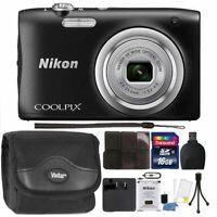Nikon COOLPIX A100 20.1MP 5X Optical Zoom Digital Camera Accessory Bundle Black