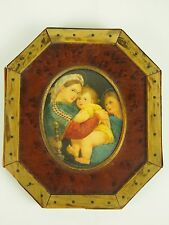 THE VIRGIN OF THE CHAIR. MINIATURE. OIL. COPY OF RAFAEL. XIX-XX CENTURY