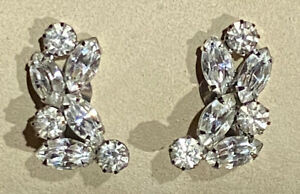 Signed WEISS Vintage Marquise Round Ice Rhinestone Deco Climber Clip Earrings