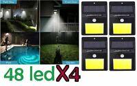 4x Lampada luce faretto faro esterno energia solare 48 LED sensore movimento