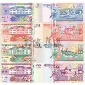 Suriname 1998 year 5 - 100 Gulden Set 4 pcs BrandNew Banknotes