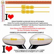 Adesivi specchietti fiat 500 oro I LOVE 500 gold Wing Mirror Sticker 4 pz.